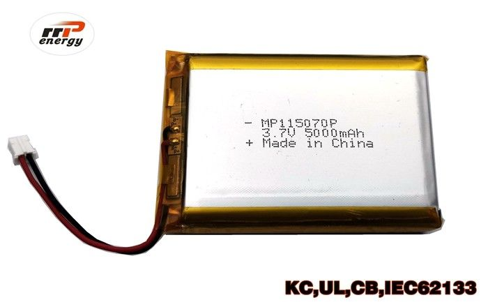 Long Life Cycles High Capacity Power Bank Lithium Polymer Battery MP115070P 5000mAh 3.7V UL KC CB IEC62133